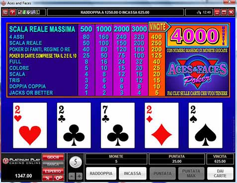 video poker ace & faces